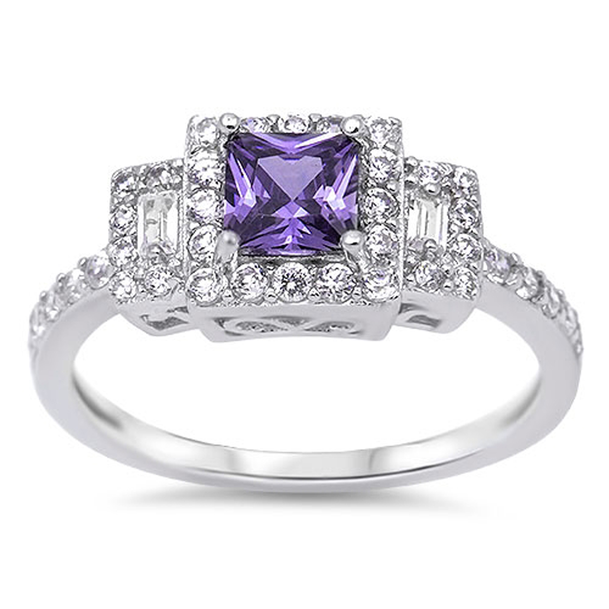 Sterling Silver Women's Flawless Simulated Amethyst Cubic Zirconia Simulated Princess Cut Wedding Ring (Sizes 4-12) (Ring Size 4)