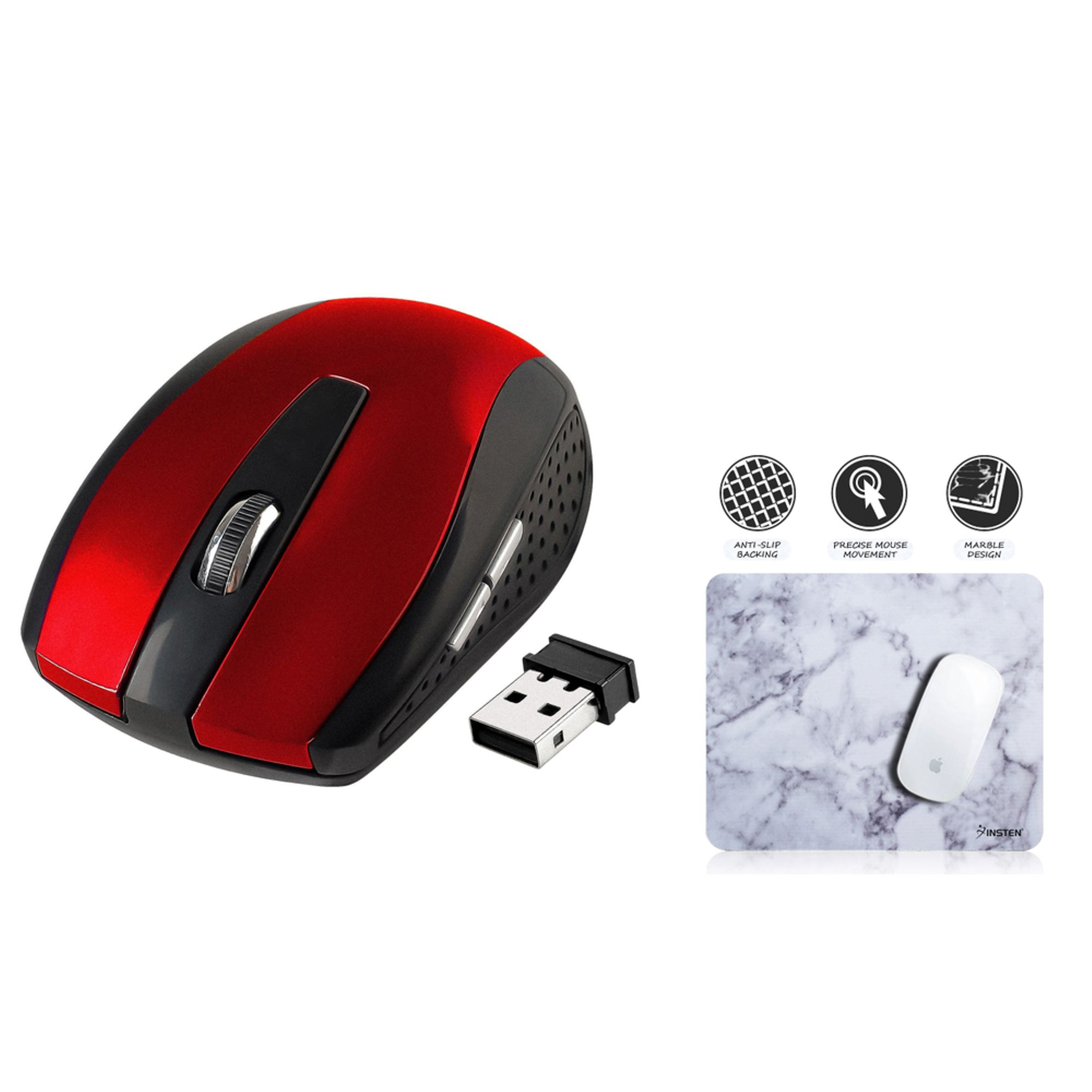 Insten Red 2.4G Cordless Wireless Optical Mouse + White Marble Mouse Pad