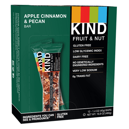 - KIND Bars, Apple Cinnamon Pecan, 12 Bars, Gluten Free