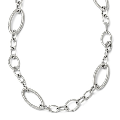 14k White Gold 17in Polished and Textured Link Necklace by Jewelrypot