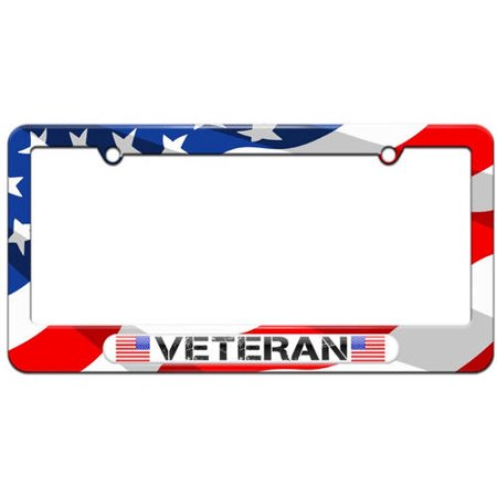 Military Veteran, American Flag License Plate Tag Frame, Multiple Colors