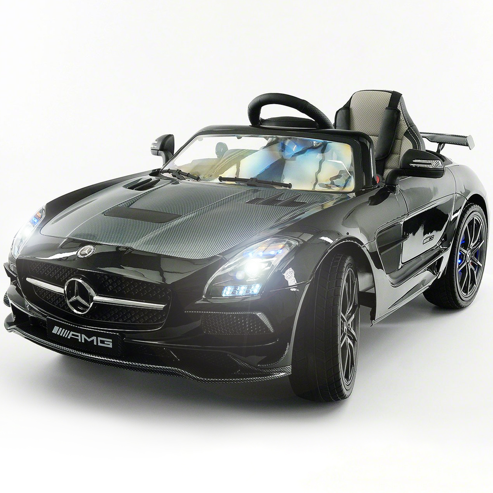 2019 Mercedes SLS AMG 12V Battery Powered Motorized Ride on Toy Car with Built in LCD TV, LED Lights, Leather... by