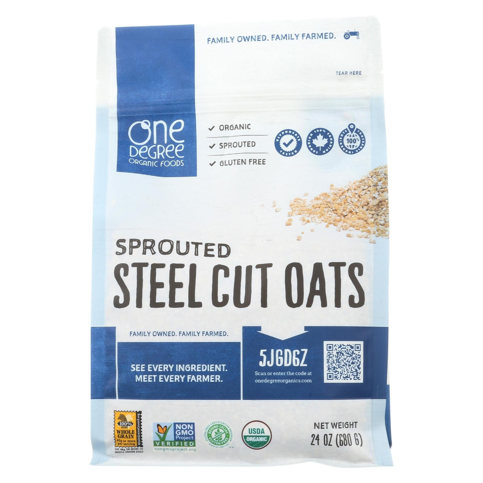One Degree Organic Foods Organic Steel Cut Oats – Sprouted – Pack of 4 – 24 Oz