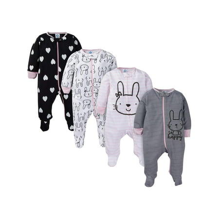 Assorted Zip Front Sleep N Play Sleepers, 4pk (Baby Girl)