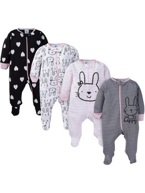 Gerber Assorted Zip Front Sleep N Play Sleepers, 4pk (Baby Girls)