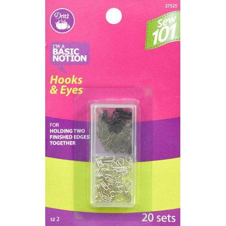 - Dritz Sewing 101 Hooks & Eyes Size 2 20/Pkg-Black & Nickel