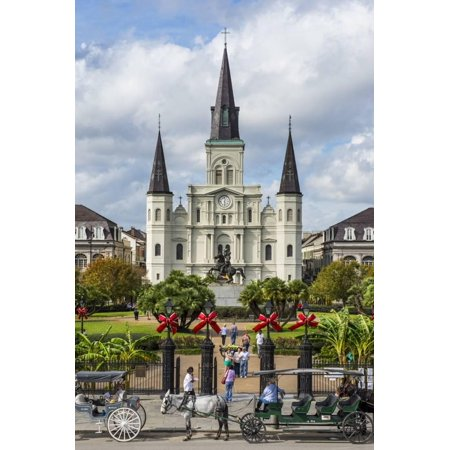 Old Horse Carts in Front of Jackson Square and the St. Louis Cathedral, New Orleans, Louisiana Print Wall Art By Michael Runkel (Jackson Square Print)
