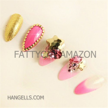 Fashion Japanese 3d Nail Art Hot Gold Pink 10 Full Handmade 3d