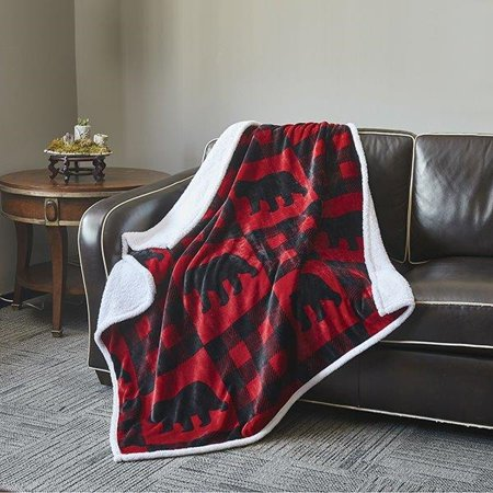 Buffalo Bear Red And Black Plaid Flannel Plush Sherpa