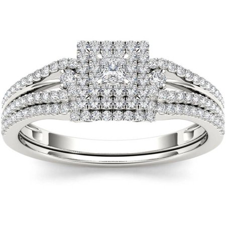 1/2 Carat T.W. Diamond Cluster Double Halo 10kt White Gold Engagement Ring Set