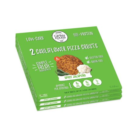 Cali'flour Foods Gluten Free, Low Carb Cauliflower Spicy Jalapeno Pizza Crusts - 3 Boxes - (6 Total Crusts, 2 Per Box)