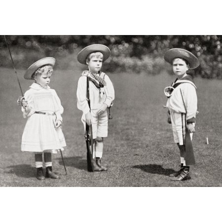 Princess Mary Prince Edward Later King Edward Viii And Prince Albert As Children The Princess Mary Princess Royal And Countess Of Harewood Victoria Alexandra Alice Mary 1897 Stretched Canvas - Ken (Princess Alice And Prince Louis Of Hesse)