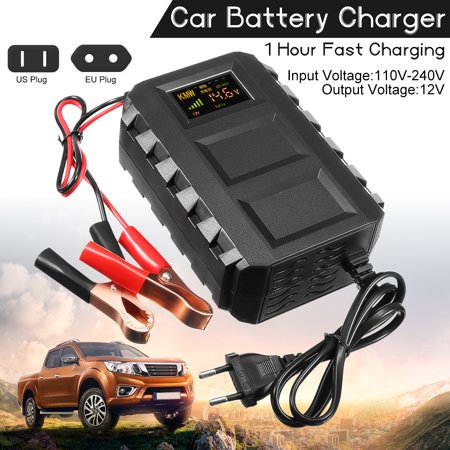 12V 20A LCD Intelligent Automobile Car Battery Charger Jump Starter For 12V Dead Battery Car Van Motorcycle US