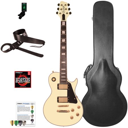 Les Paul Style Guitar - Sawtooth Heritage Series Maple Top Electric Guitar with ChromaCast Pro Series LP Body Style Hard Case and Accessories