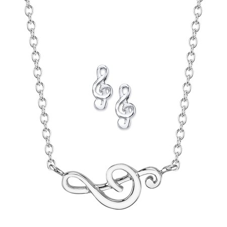 - Sterling Silver Treble Clef Necklace and Earrings Jewelry Set, 18