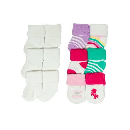 Magical Unicorn Terry Cuff Sock Set, 12-pack (Newborn Baby Girls) (Sock Hop Girls)