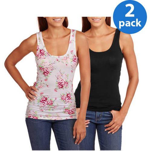 Juniors' Plus Graphic Scoop Neck Tank 2 Pack