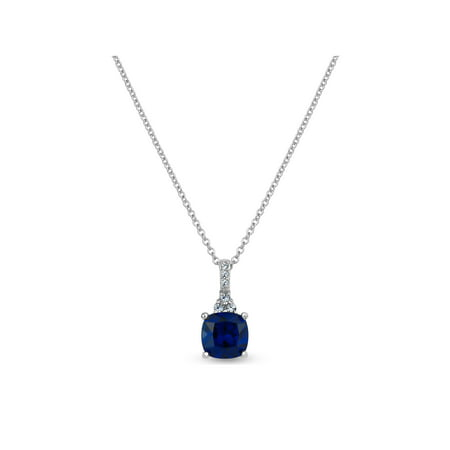 Cheap Blue Necklaces (Created Blue and White Sapphire Sterling Silver 8mm Cushion-Cut Necklace,)