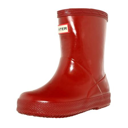Hunter Boots Toddler (Hunter Boy's Original Kids First Gloss Military Red Mid-Calf Rubber Rain Boot -)
