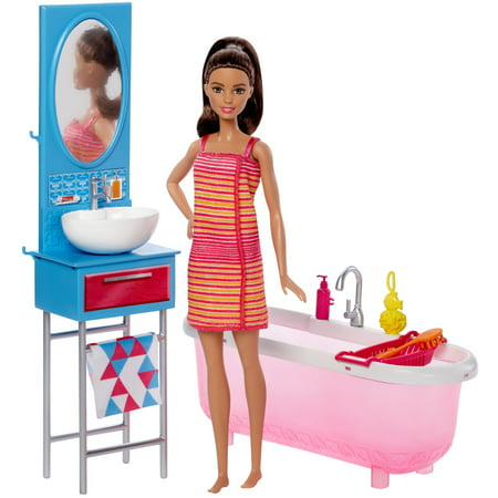 Barbie Doll Furniture Bathroom Set With Accessories