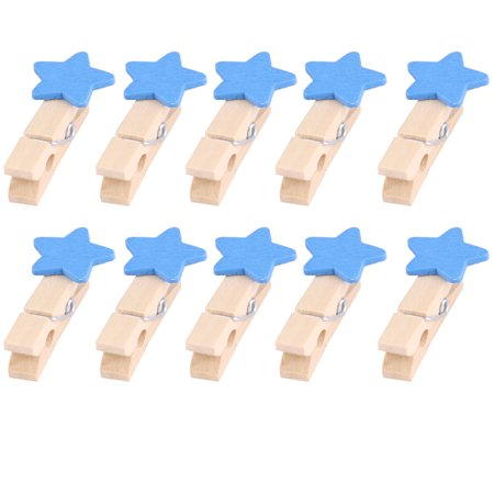 Home Wooden Star Shaped DIY Craft Photo Picture Post Card Decor Clip Blue 10pcs - Wooden Halloween Crafts Adults