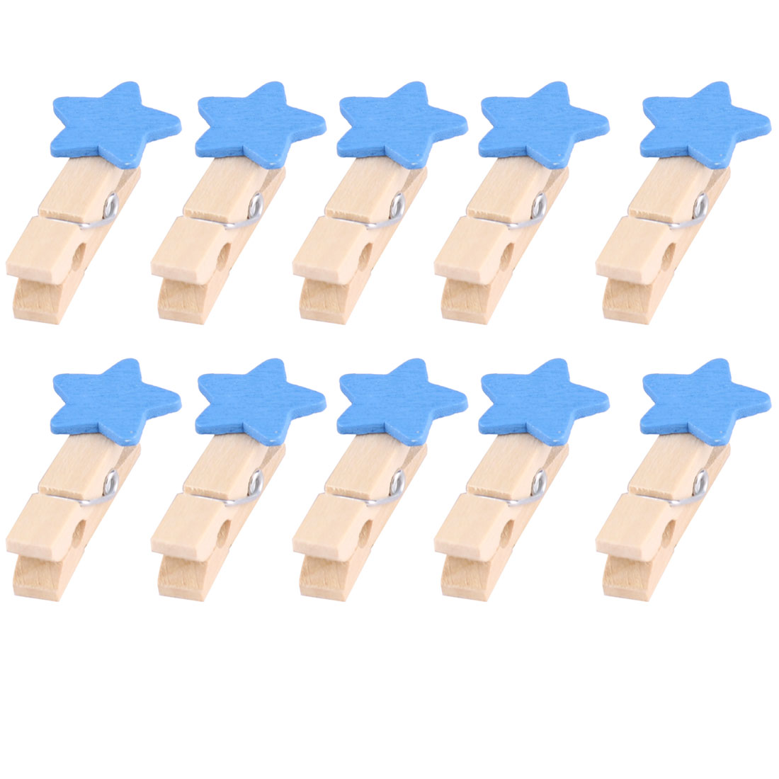 Home Wooden Star Shaped DIY Craft Photo Picture Post Card Decor Clip Blue 10pcs