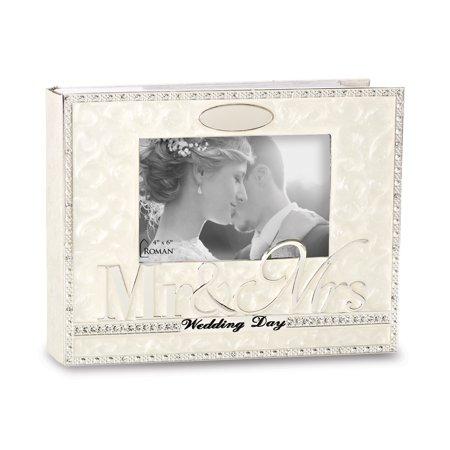 Ivory Enameled Crystal Wedding Day Photo Album