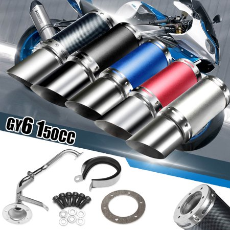 Motorcycle Universal Exhaust Pipe Exhaust Pipe Muffler System Short Carbon Fiber Gy6 50cc 125cc 150cc 4 Stroke Chinese Scooter ATV Pit Dirt Bike Engine Replacement Stainless (Best Oil For Pit Bike Engine)