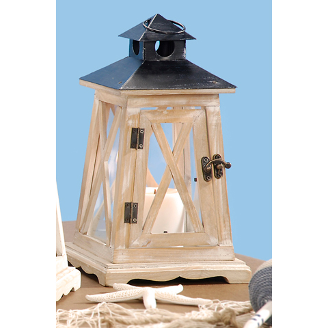 Wooden Lantern - Lighthouse Design - Natural - 7.08 x 12.20 x 7.08 inches