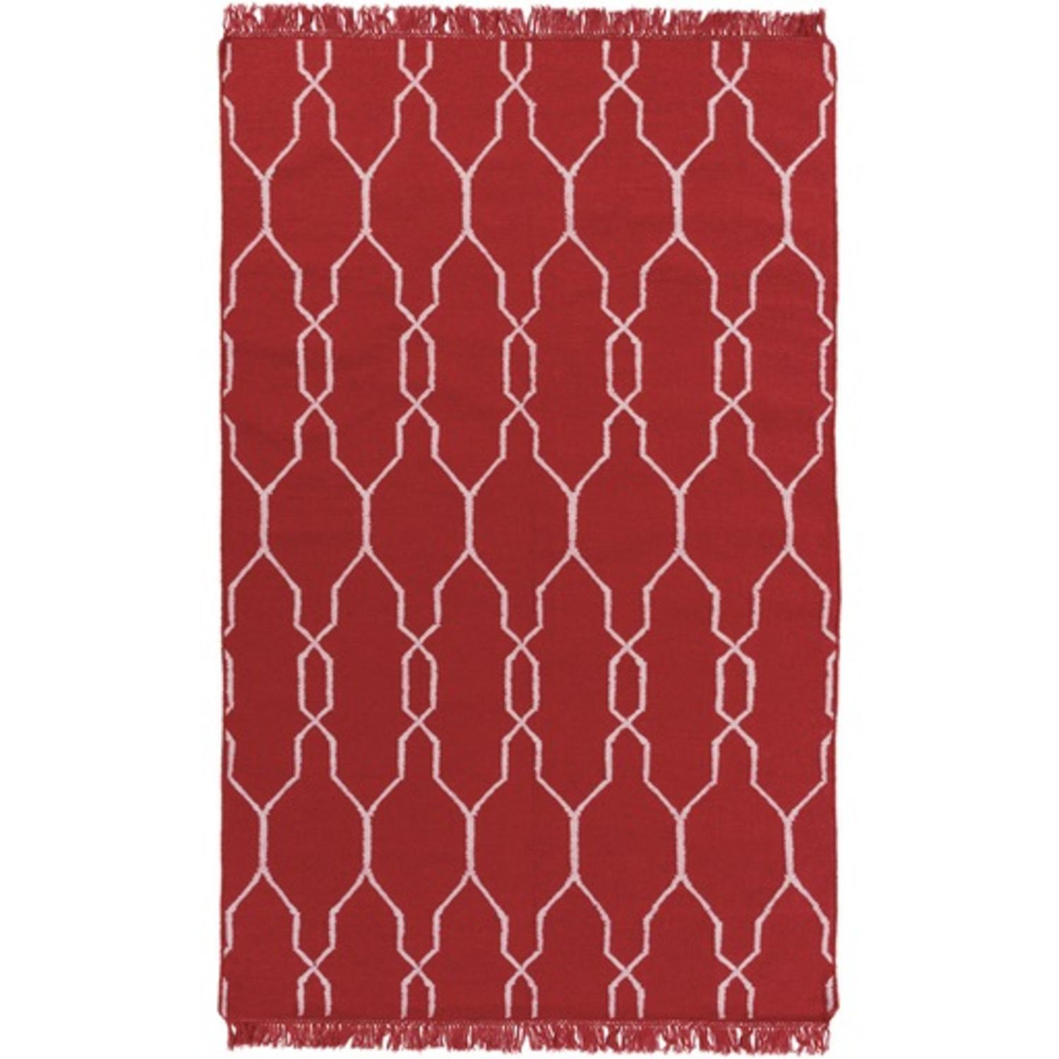 5' x 8' Moroccan Lagoon Cherry Red and Ivory Reversible Area Throw Rug