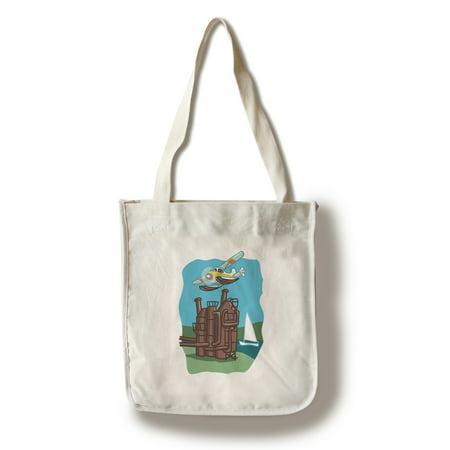 Seattle, Washington - Lake Union - Cartoon Icon - Image Only - Lantern Press Artwork (100% Cotton Tote Bag - Reusable) - Carbon Lantern