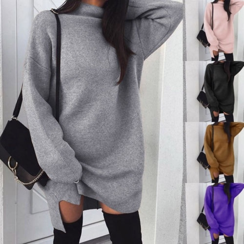 Fashion Women´s Middle Collar Long Sleeve Jumper Sweater Loose Pullover Dress