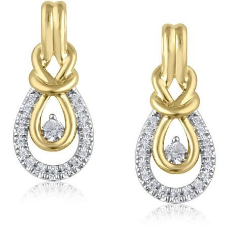 1/5 Carat T.W. Diamond 10kt Yellow Gold Knot Earrings