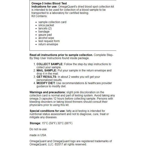 Omega Quant Omega-3 Blood Test 1 Kit