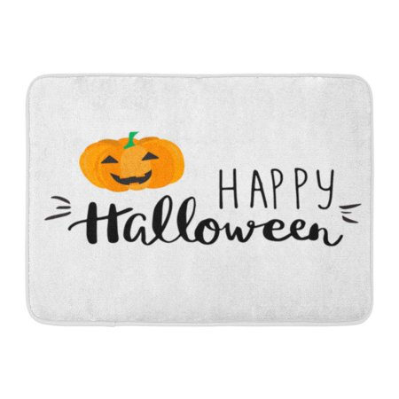 GODPOK Black Abstract Cute Halloween with Smiling Pumpkin and Hand Written Lettering Phrase Happy and Orange Rug Doormat Bath Mat 23.6x15.7 inch - Halloween Phrases For Food