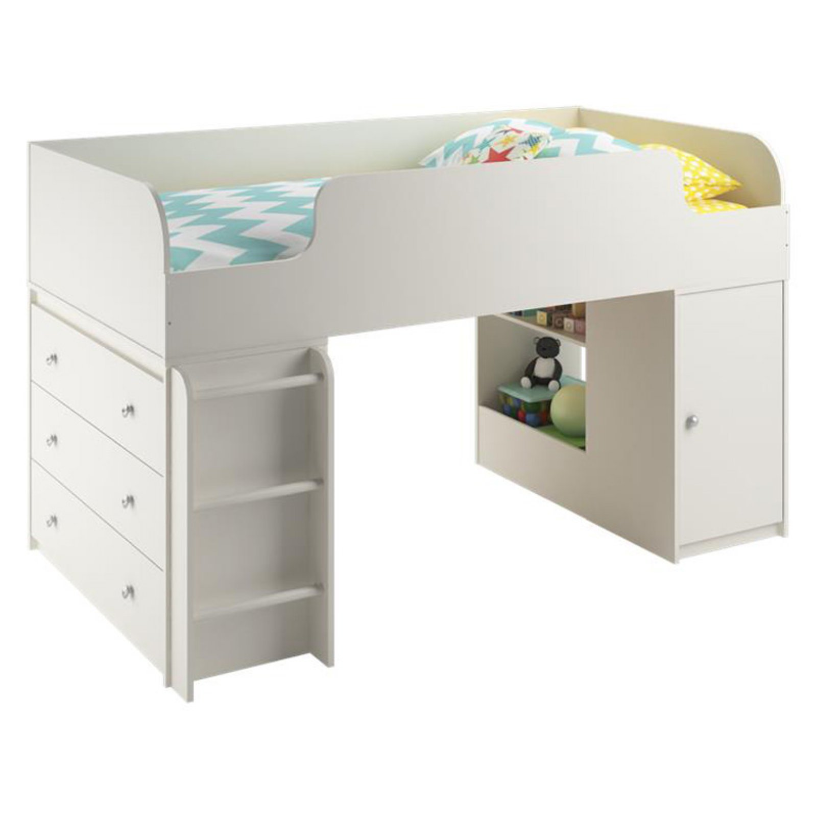 Cosco Elements Loft Bed with 3 Drawer Dresser and Toy Box Bookcase