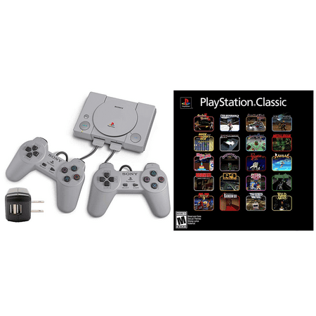 PlayStation Classic Console with AC USB Adapter Bundle: 20 Classic PlayStation Games Pre-Installed, Includes Final Fantasy VII, Grand Theft Auto, Resident Evil Director\'s Cut and (Used Wii Console And Games For Sale)