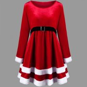 Christmas Women Fashion Plus Size Red Long Sleeve Round Collar Velvet Dress