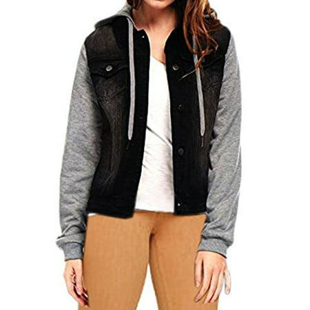 Skylinewears Women Long Sleeve Drawstring Hood Denim Jean Jacket