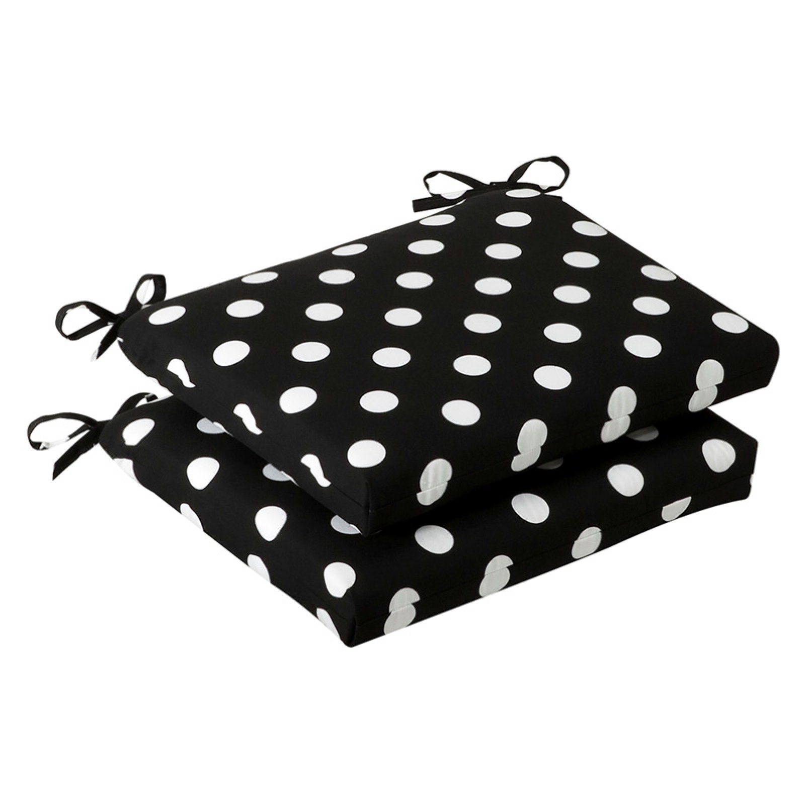 Pillow Perfect Outdoor/ Indoor Polka Dot Black Squared Corners Seat Cushion (Set of 2)
