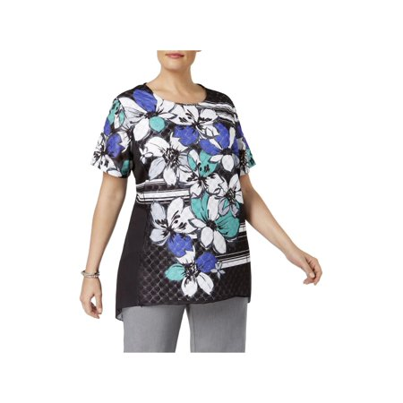 Alfred Dunner Womens Plus Lace Floral Print Blouse