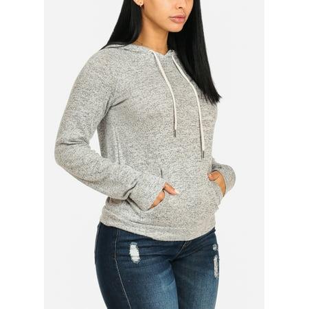 Womens Juniors Cozy Long Sleeve Kangaroo Pocket Light Grey Sweater W Hood 21207P