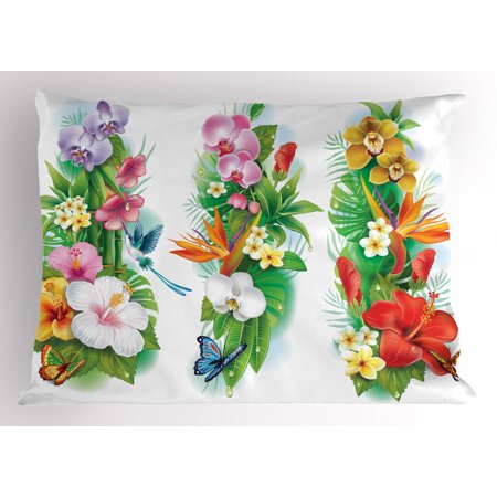 - Watercolor Flower Pillow Sham Tropical Christmas Bouquet Tropical Hibiscus Blossoms Leaf Butterfly, Decorative Standard Size Printed Pillowcase, 26 X 20 Inches, Multicolor, by Ambesonne