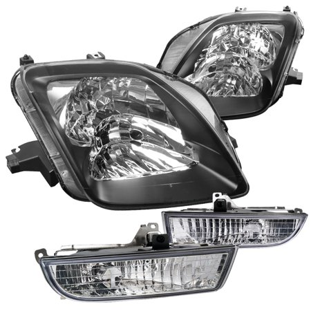Headlight Switch Assembly - Spec-D Tuning For 1997-2001 Honda Prelude Black Headlights Pair + Jdm Clear Fog Lights W/ Switch (Left+Right) 1997 1998 1999 2000 2001
