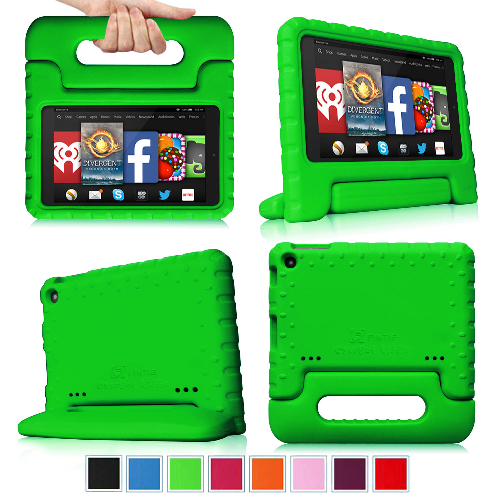 Fintie Light Weight Shock Proof Handle Case for Kids Specially made for Kindle Fire HD 7 2014 Oct Release, Green
