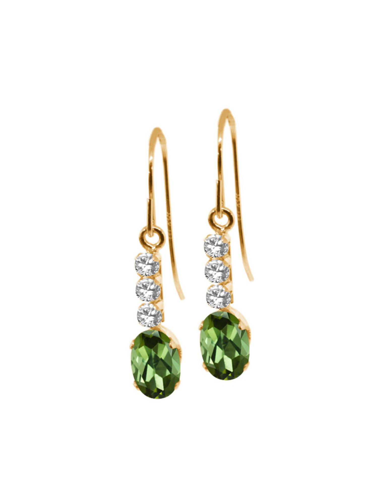 0.98 Ct Oval Green Tourmaline 10K Yellow Gold Earrings by