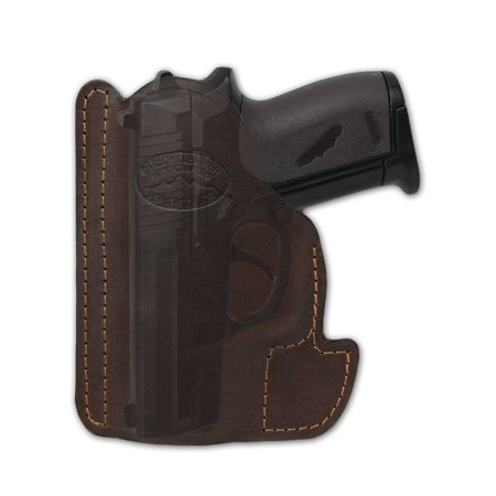 Barsony Ambidextrous Brown Leather Pocket Holster Size 10 Baby Browning Seecamp Colt 25 Mini 22 25 380 Browning 380 Auto