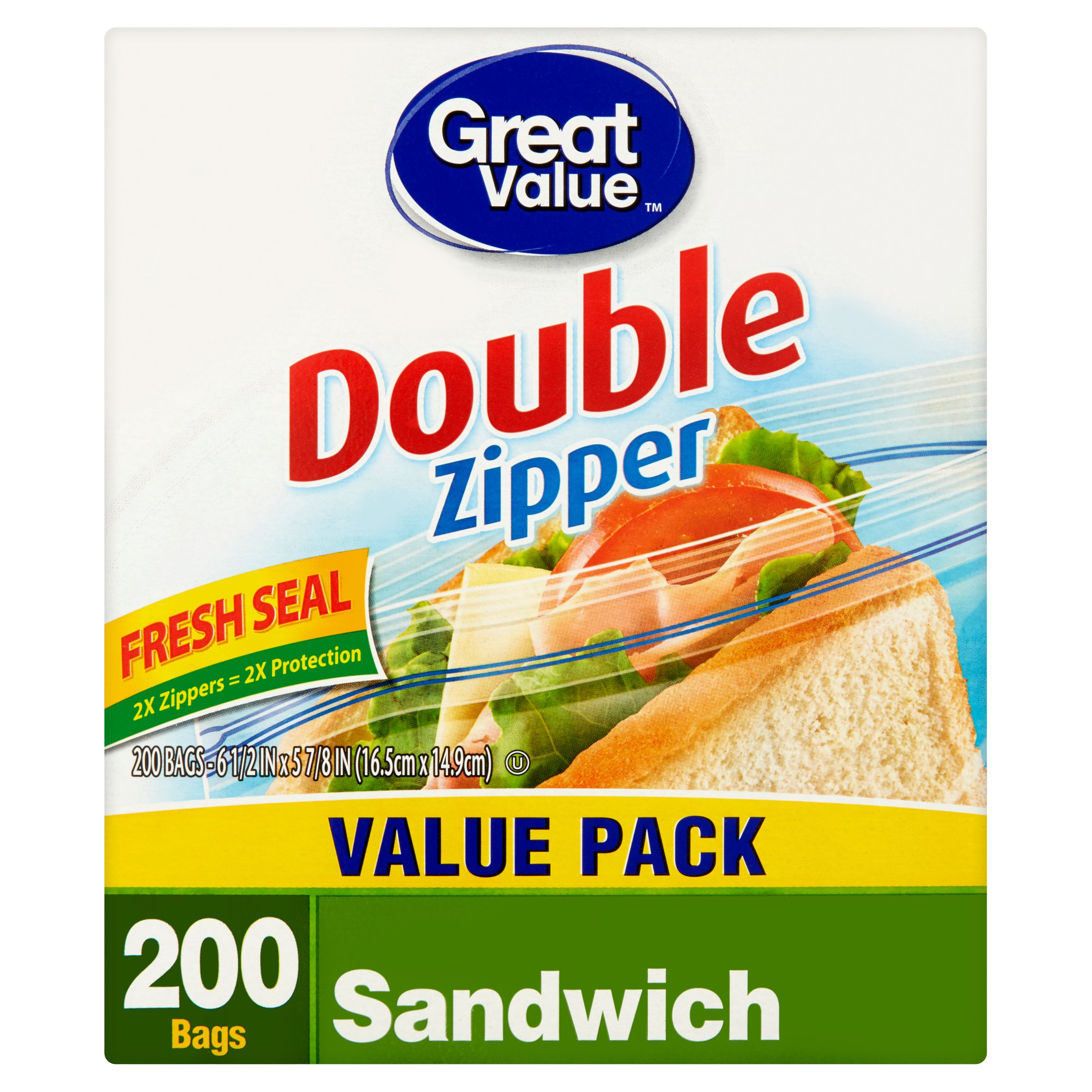 Great Value Double Zipper Sandwich Bags, 200 Ct