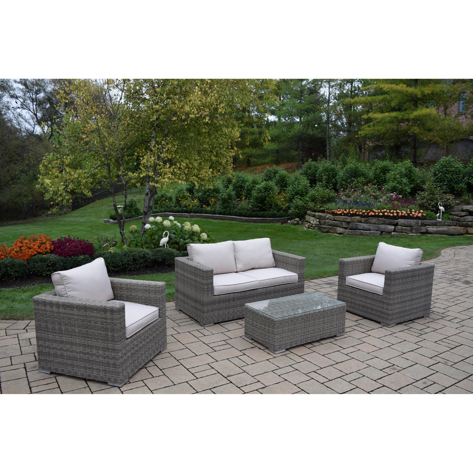 Oakland Living Borneo Resin Wicker 4 Piece Patio Conversation Set by Oakland Living Corp
