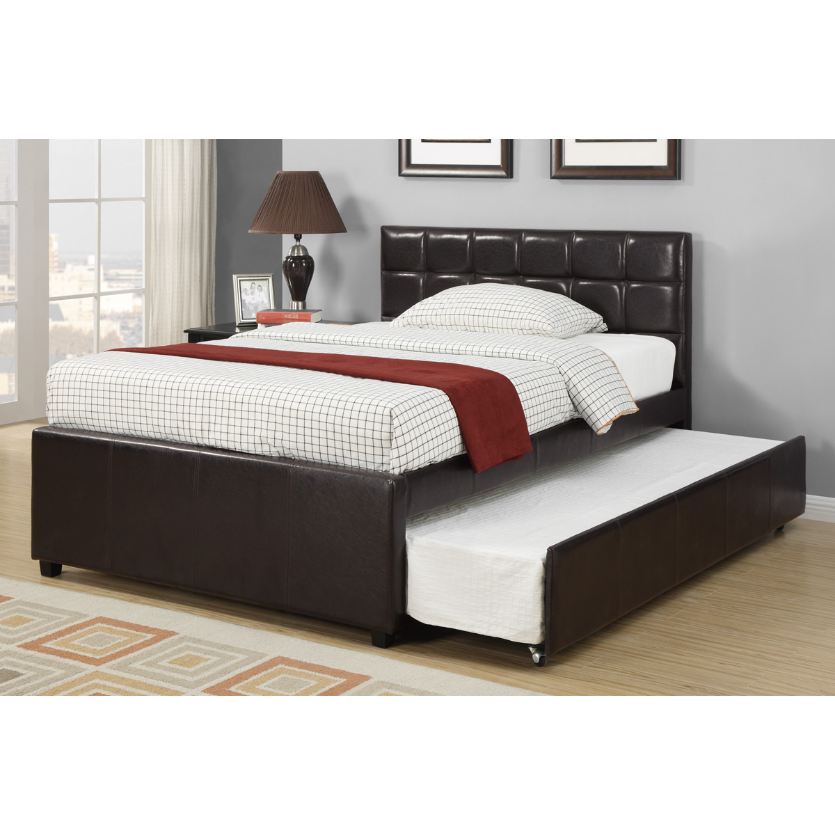 Espresso Platform Faux Leather Full Bed with Trundle